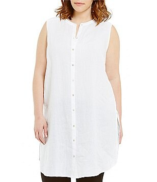 Eileen Fisher Plus Mandarin Collar Sleeveless Long Shirt