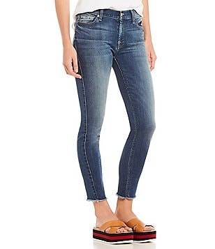 7 For All Mankind Raw Hem Skinny Ankle Jeans