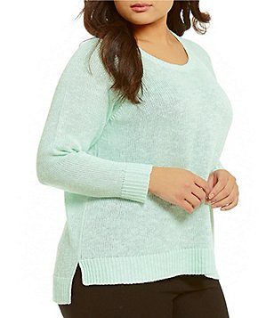 Eileen Fisher Plus Round Neck Long Sleeve Light Sweater