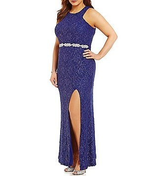 Jodi Kristopher Plus High Neck Embellished Waist Long Lace Dress