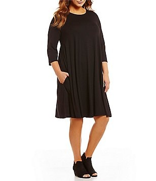 Eileen Fisher Plus Round Neck 3/4 Sleeve Dress