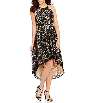 Aidan Aidan Mattox Lace Halter Sleeveless Hi-Low Printed Dress