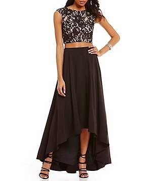 Aidan Aidan Mattox Round Neck Cap Sleeve Lace Hi-Low 2-Piece Dress