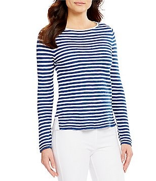 Eileen Fisher Petites Bateau Neck Long Sleeve Striped Top