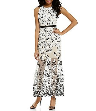 Aidan Aidan Mattox Embroidered Illusion Gown