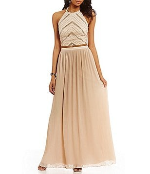 Aidan Aidan Mattox Chevron Sequin Halter 2-Piece Dress