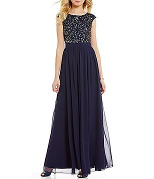 Aidan Aidan Mattox Cap-Sleeve Sequined Gown