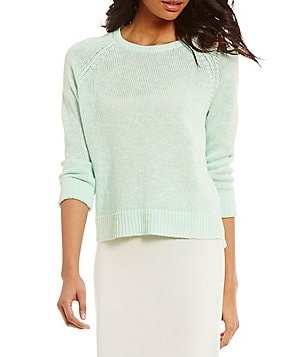 Eileen Fisher Petites Round Neck Long Sleeve Sweater Top