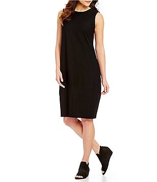 Eileen Fisher Petites Stretch Crepe Round Neck Lantern Dress