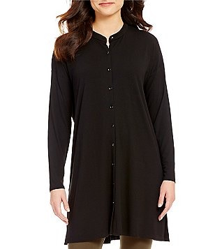 Eileen Fisher Petites Mandarin Collar Long Sleeve Tunic