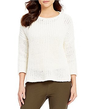 Eileen Fisher Petites Round Neck 3/4 Sleeve Sweater