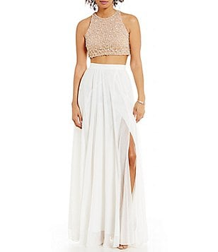Glamour by Terani Couture High Neck Beaded Top Two-Piece Long Dress