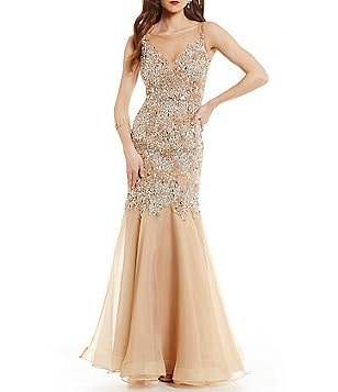 Glamour by Terani Couture Illusion Neckline Beaded Trumpet Dress