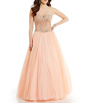 Glamour by Terani Couture Strapless Sweetheart Neckline Beaded Corset Ball Gown