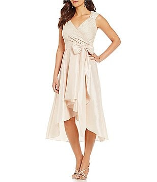 R&M Richards Lace Taffeta Hi-Low Dress