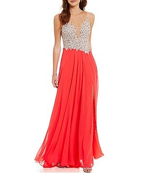 Glamour by Terani Couture Illusion Beaded Bodice Long Dress