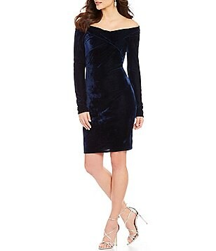 C&V Chelsea & Violet Velvet Off-The-Shoulder Long-Sleeve Sheath Dress