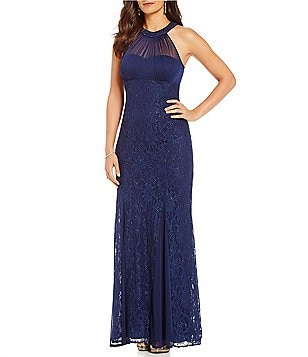 R&M Richards Halter Glitter Lace Gown