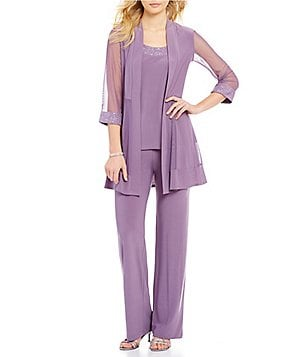 R&M Richards Mesh-Inset Mock 3-Piece Pant Set