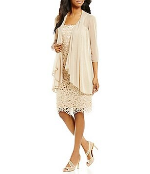 R&M Richards Metallic Embroidered Lace Jacket Dress