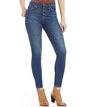 Big Star Ella Button Front High Rise Stretch Skinny Jeans