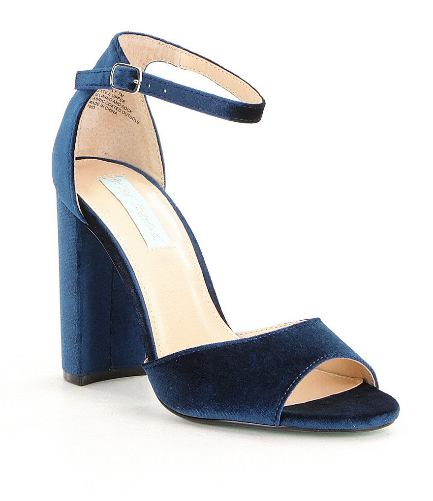 Blue by Betsey Johnson Carly Velvet Block Heel Dress Sandals