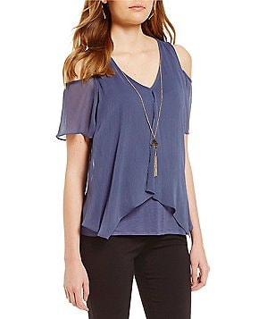 I.N. San Francisco Split-Front Cold-Shoulder Top