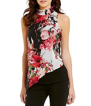 I.N. San Francisco Floral-Print Shirred Mock Neck Sleeveless Asymmetric-Hem Top