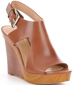 MICHAEL Michael Kors Josephine Leather Side Cutout Peep Toe Wedges