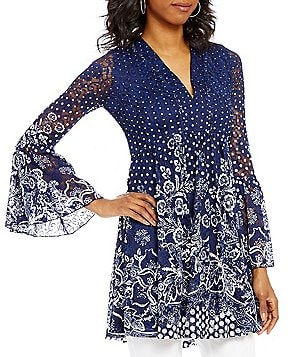 Paris Hues Printed Lace V-Neck Long Bell Sleeve Tunic