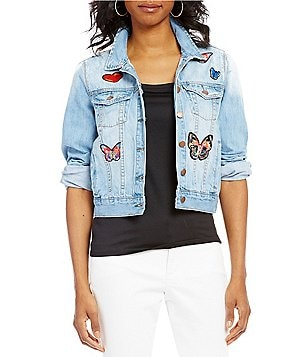 Paris Hues Point Collar Long Sleeve Button Front Applique Denim Jacket