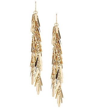 Natasha Accessories Metal Fringe Linear Drop Statement Earrings