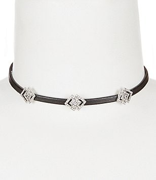 Natasha Accessories Faux-Leather Choker Necklace