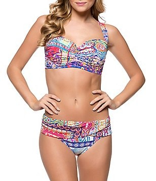 Bleu Rod Beattie New Cool Shirred D Cup Midkini Bandeau Top & Sarong Hipster Printed Bottom