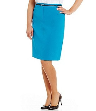 Calvin Klein Plus Lux Belted Solid Pencil Skirt