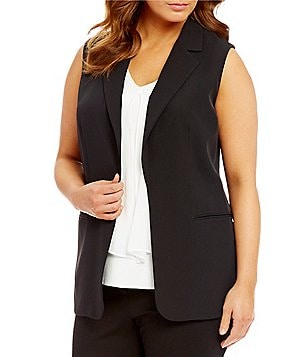 Calvin Klein Plus Notch Lapel Open Front Solid Vest