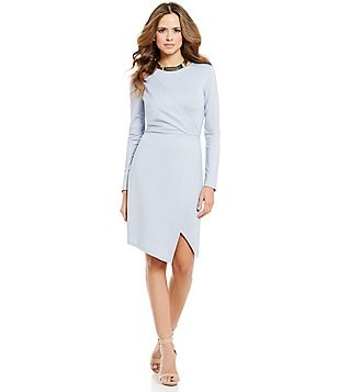 Gianni Bini Millile Asymmetric Wra Long Sleeve Knit Chambray Dress