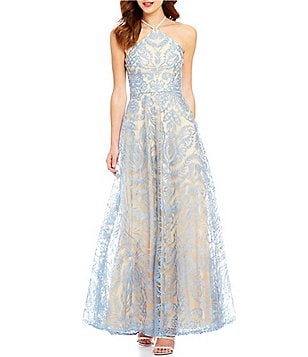 Xtraordinary High Y-Neck Scroll Embroidered Beaded Strappy Back Long Dress