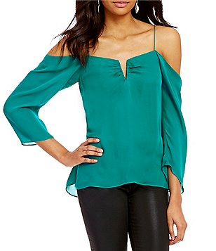 Nicole Miller Artelier Schuler Cold-Shoulder Long Sleeve Split-Square Neck Silk Blouse