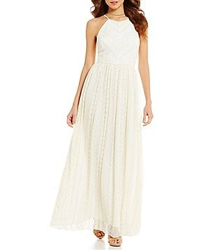 Gianni Bini Kim Lurex & Lace Halter Neck Sleeveless Gown
