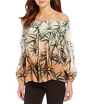 Nicole Miller Artelier Rocky Sunset Palm Print Off-the-Shoulder Blouse