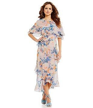 Gianni Bini Mac Floral Chiffon Tiered Ruffle Midi Dress
