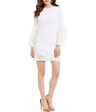 Nicole Miller Artelier Burnout Floral Organza Long Bell Sleeve Shift Dress
