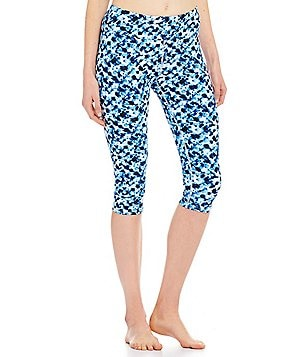 Half Moon by Modern Movement Abstract Ruched Capri Leggings
