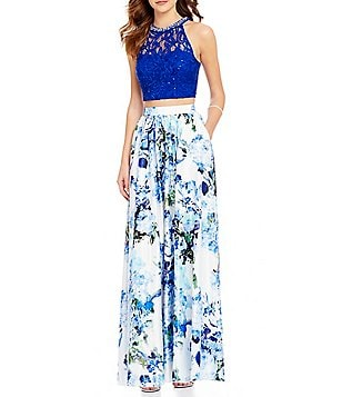 Xtraordinary Beaded High Neck Sequin Lace Bodcie Floral Skirt Two-Piece Long Dress