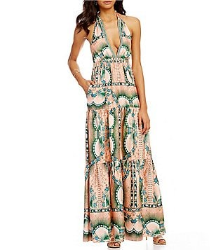 Nicole Miller Artelier Topical Peacock Print Open Back Maxi Dress