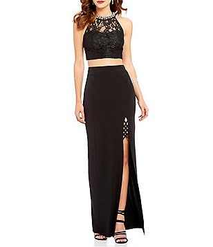 Xtraordinary Beaded-Neck Lace Top Two-Piece Long Dress