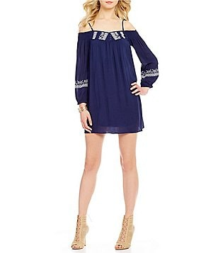 Band Of Gypsies Cold Shoulder Embroidered Dress
