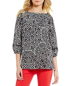 Gibson & Latimer Round Neck 3/4 Sleeve Geo Printed Blouse