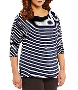 Gibson & Latimer Plus Striped 3/4 Sleeve Fleeced Knit Top